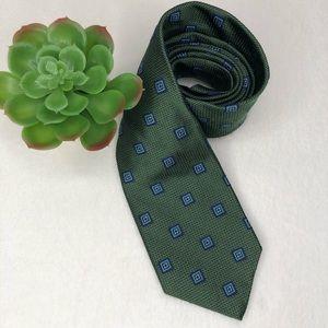 Brooks Brothers 346 Silk Tie Green Geo Print